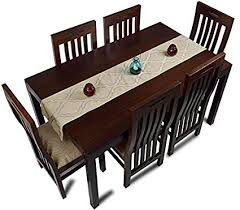 mubell kolkata farmhouse six seater dining table set teak wood table top