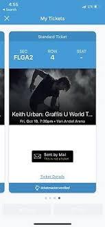 2x Keith Urban Concert Tickets Floor Seats Grand Rapids Van
