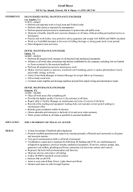 Sample Hotel Resume Hotel Maintenance Engineer Resume Samples Velvet Jobs 2