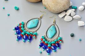 final look of the turquoise chandelier earrings