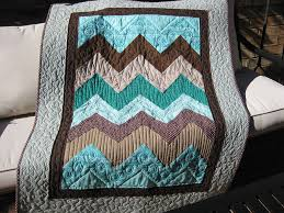 Teal and Brown Chevron #1008 | Hand Made Quilts in Amarillo, Plano ... & ... Handmade Quality Quilts Texas Amish Appalachian Adamdwight.com