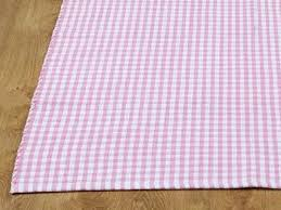 homescapes 100 cotton gingham check rug hand woven pink white 60 x 90 cm washable