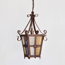 vintage french lantern with multicolored glass panels