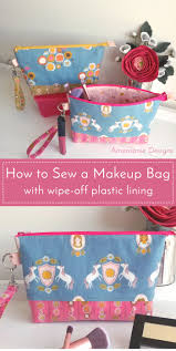 learn how to make a makeup bag with a plastic lining a fun wipe off cosmetic bag tutorial you can easily clean the interior