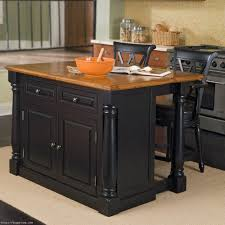 Black Portable Kitchen Island With Storage And Seating Sathoud