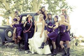 Country Wedding With Mismatched Bridesmaid Dresses  Rustic Country Western Style Bridesmaid Dresses