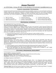 Junior Financial Analyst Resume Resume Financial Management