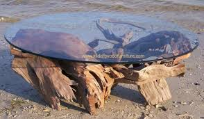 oval driftwood coffee table