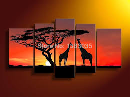 hand painted modern abstract african giraffe sunset landscape oil paintings on canvas 5 piece large wall art picture decoration