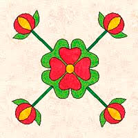 Rose of Sharon Quilt Pattern History With Two Free Patterns & Rose of Sharon block with buds Adamdwight.com