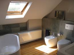 Sloped Roof Bedroom Bathroom Small Attic Bathroom With Wooden Floor And Small Glass
