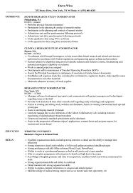 Research Study Coordinator Resume Samples Velvet Jobs