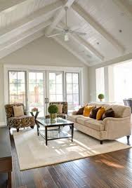 white cathedral ceilings living room
