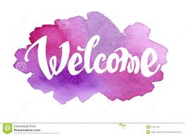 pink welcome welcome hand drawn lettering against watercolor stock vector