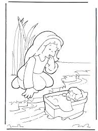 Baby Moses Coloring Page Printable From The Bible For Kids Pages Old