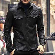 leather jacket shirts men plus velvet camisa social masculina brand warm slim fit men black shirt