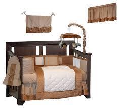 minky 9 piece crib bedding set brown