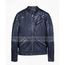 mens blue leather quilted biker jacket