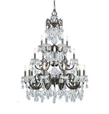 crystorama 20 light clear italian crystal bronze chandelier