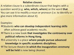 We use relative clauses to make clear which person or thing we are talking about: Ppt Relative Clauses Powerpoint Presentation Free Download Id 1712878