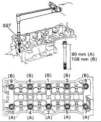 What is the headbolt torque spec. for a 1991 toyota corolla 1.6 L 16 ...