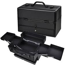 aw 14x7x9 lockable black abs aluminum cosmetic makeup train case w drawer trays
