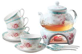 jusalpha fine china vintage rose flower series coffee cup teacup saucer spoon set with teapot
