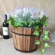 small wooden barrel pot planter outdoor garden plant flower rustic decor 1