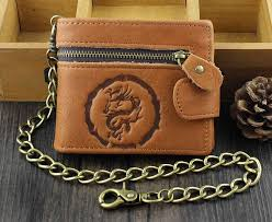 details about vintage dragon biker billfold many card slots men s leather wallet with chain