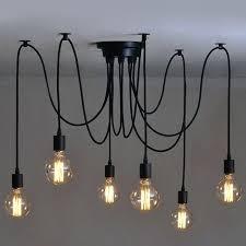 industrial lighting bare bulb light fixtures. Edison Bulb Pendant Light Fixture 6 Heads Vintage Industrial Ceiling Lamp Chandelier Lighting . Bare Fixtures