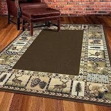 cabin rugs rustic area rug deer bear pine cone brown beige southwest lodge log 8x10 southwestern