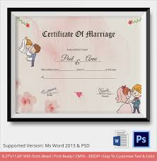 Sample Marriage Certificate Template 18 Documents In Word Psd