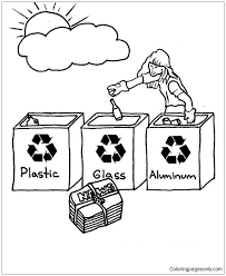 Small Picture Choose The Right Bucket For Recycling Coloring Page Free