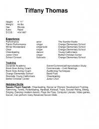 Modeling Resume With No Experience Child Actor Resume Template Free Resume Templates 15