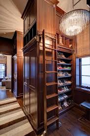 closet shoe shelves with ladder on rails