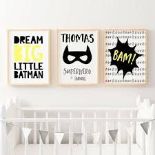 boy superhero nursery or bedroom wall art decor prints set of 3  on wall decor prints with superhero nursery prints boys bedroom wall art personalised decor