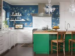 Green Color Kitchen Cabinets Blue Floral Wall Mural With Green Kitchen Island And Pastel White