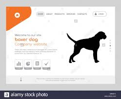 Dog Web Design Quality One Page Boxer Dog Website Template Vector Eps