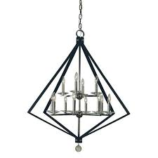 ice 12 light chandelier in polished nickel with matte black accents glass