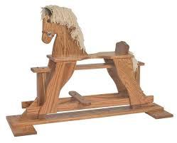 amish made oak rocking horse glider
