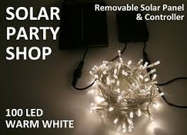 100 Warm White LED Solar Fairy Lights Clear String  Solar Party ShopSolar Panel Fairy Lights