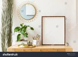 Office Photo Frame Design Modern Scanidnavian Interior Mock Photo Frame Stock Image
