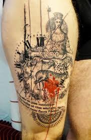 Antico Stile Dipinto Colorato Astratto Tatuaggio Con Orologio E