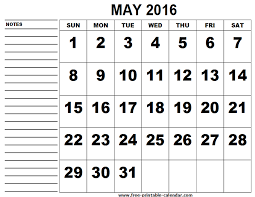 calendar for the month of may may 2016 calendar with note 1 printable monthly calendar
