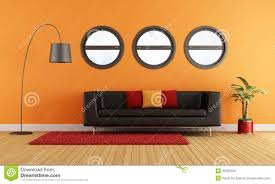 Modern Living Room With Black Couch Royalty Free Stock Images - Black couches living rooms