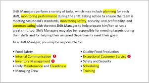 Fast Food Resume Mcdonald S Job Description For Essential Photos