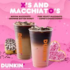 Dunkin' donuts is a subsidiary of dunkin' brands group, inc. Love Dunkin Dunkin Makes Valentine S Day Sweeter Than Ever With Pink Velvet And Mocha Macchiatos Paired With Heart Shaped Donuts Dunkin