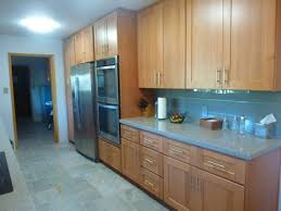 beech wood kitchen cabinets: natural beech wood shaker galley refrigerator wall after cathedral style kitchen cabinet door