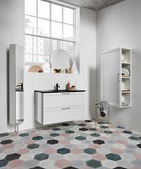 gray tile bathroom floor. Modern Bathroom With Mix And Match Hexagonal Ceramic Floor Tiles   NONAGON.style Gray Tile