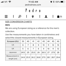 Pedro Shoes Size Chart Mens Shoe Conversion Chart Mens Fashion Footwear On Carousell